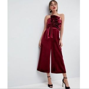 ASOS Velvet Culotte Jumpsuit with Knot and Drape